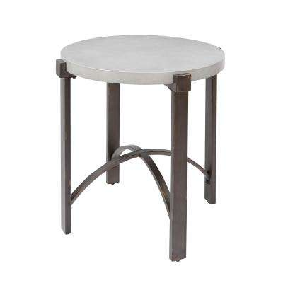 Lewis Gray Round Concrete Top End Table