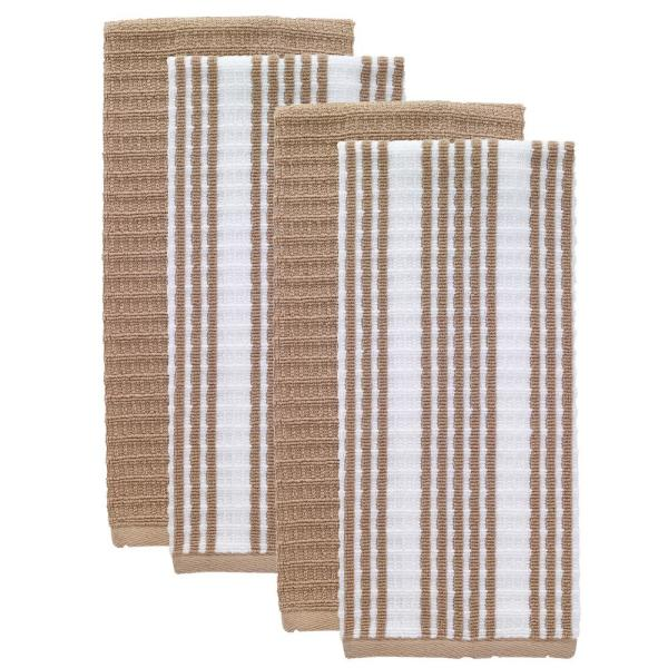 T-fal Sand Solid and Stripe Cotton Waffle Terry Kitchen Towel (Set of 4)