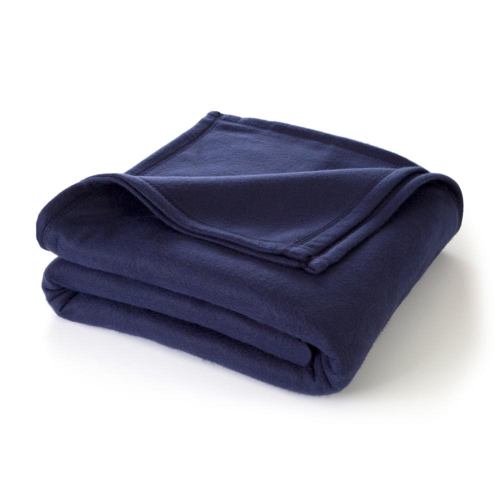 Supersoft Fleece Navy Polyester Full/Queen Blanket