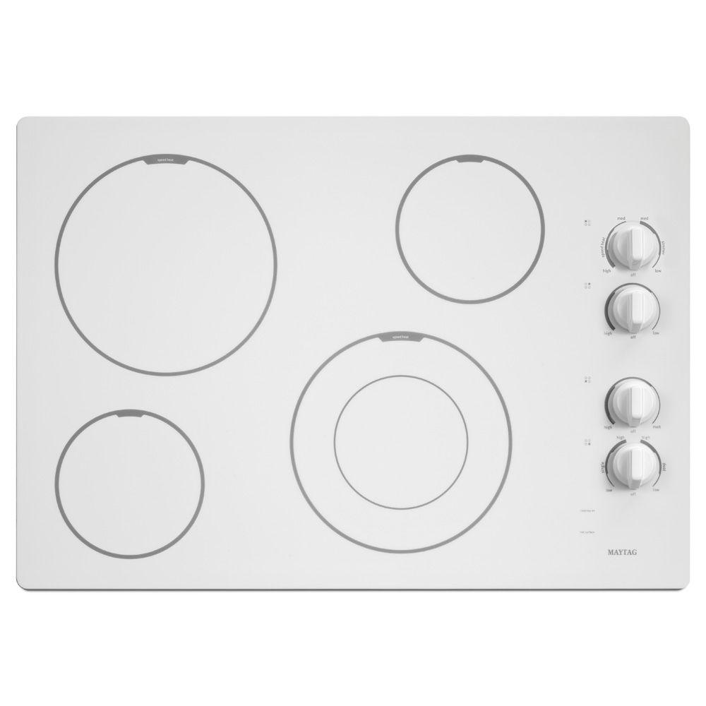 Maytag 30 In. Ceramic Glass Electric Cooktop In White With 4 Elements  Including Dual Choice And Speed Heat Elements MEC7430BW   The Home Depot