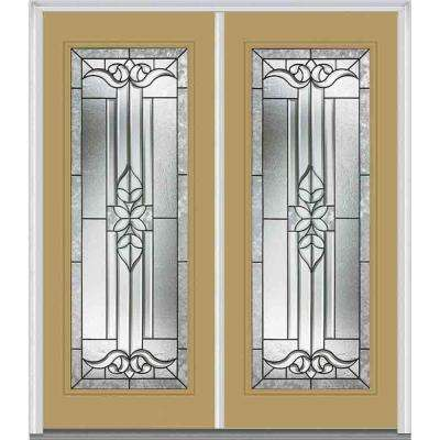 64 in. x 80 in. Cadence Left-Hand Inswing Full Lite Decorative Glass Painted Fiberglass Smooth Prehung Front Door
