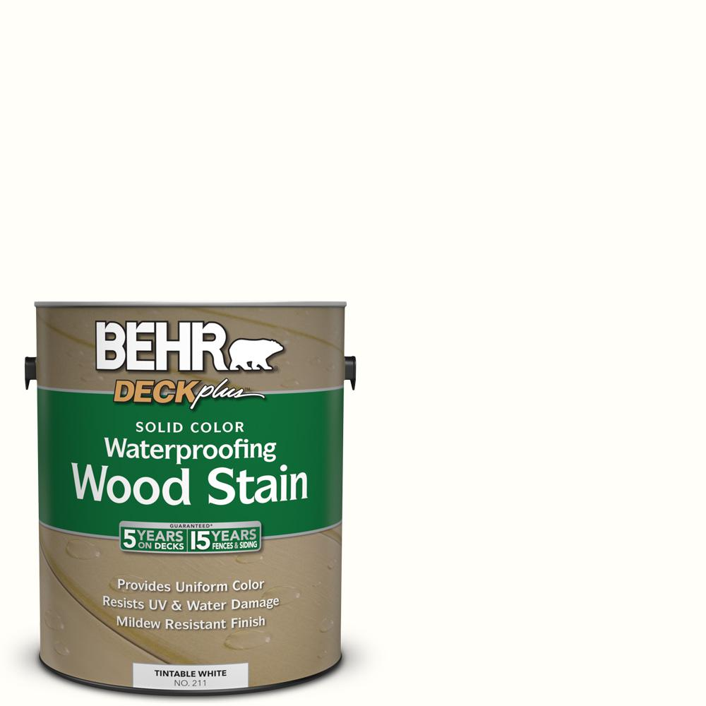 BEHR DECKplus 1 gal. #SC-210 Ultra Pure White Solid Color Waterproofing Wood Stain