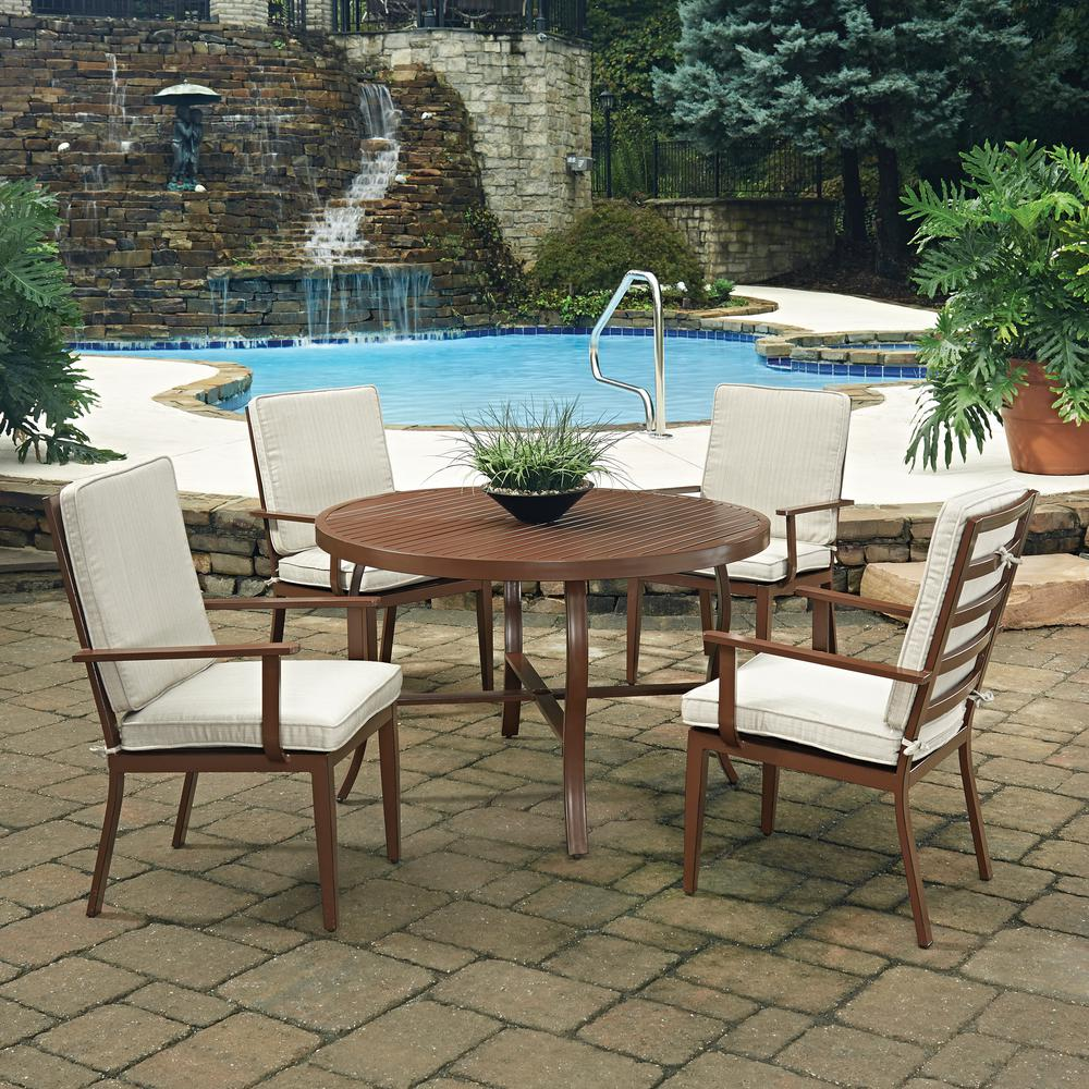 Home Styles Key West Chocolate Brown 5 Piece Extruded Aluminum Outdoor Dining Set With Beige