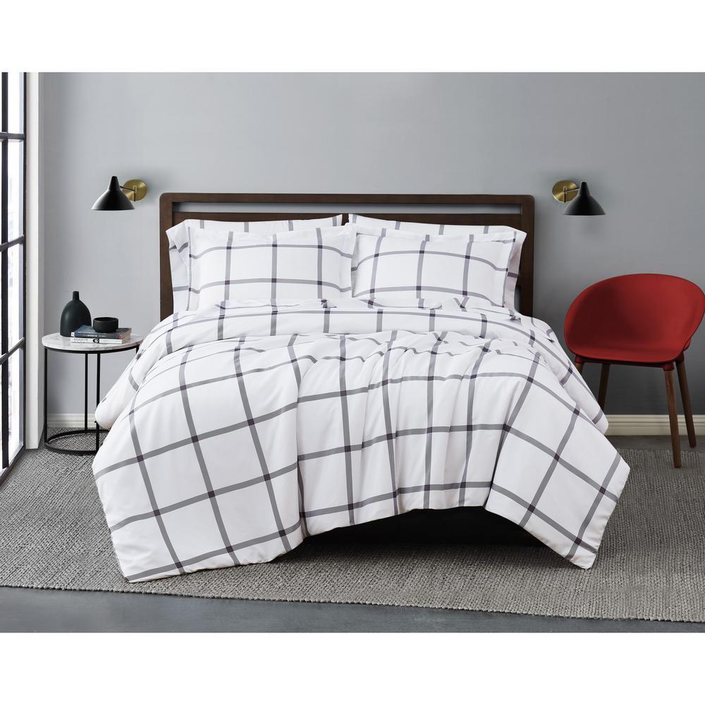 Printed Windowpane 3-Piece White/Charcoal Grey Microfiber King Comforter Set