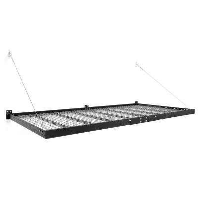 Pro Series 4 ft. x 8 ft. Wall Mounted Steel Shelf in Black (Set of 2)