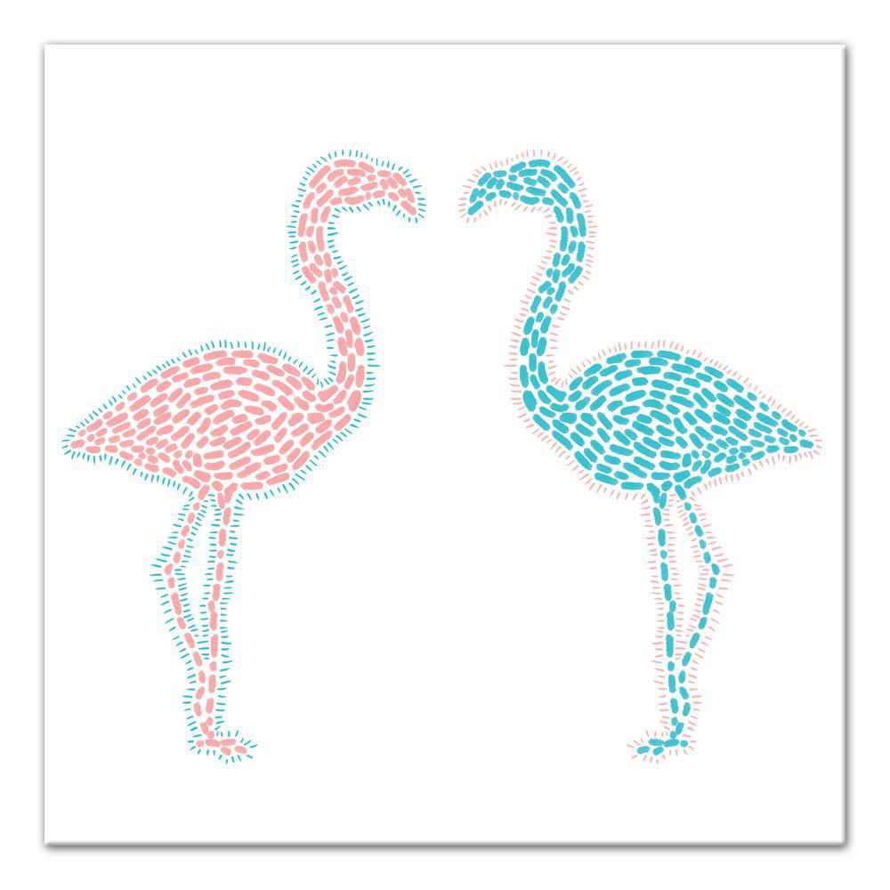 Designs direct 16 in x 16 in 39 39 pink and blue flamingos for Direct from the designers