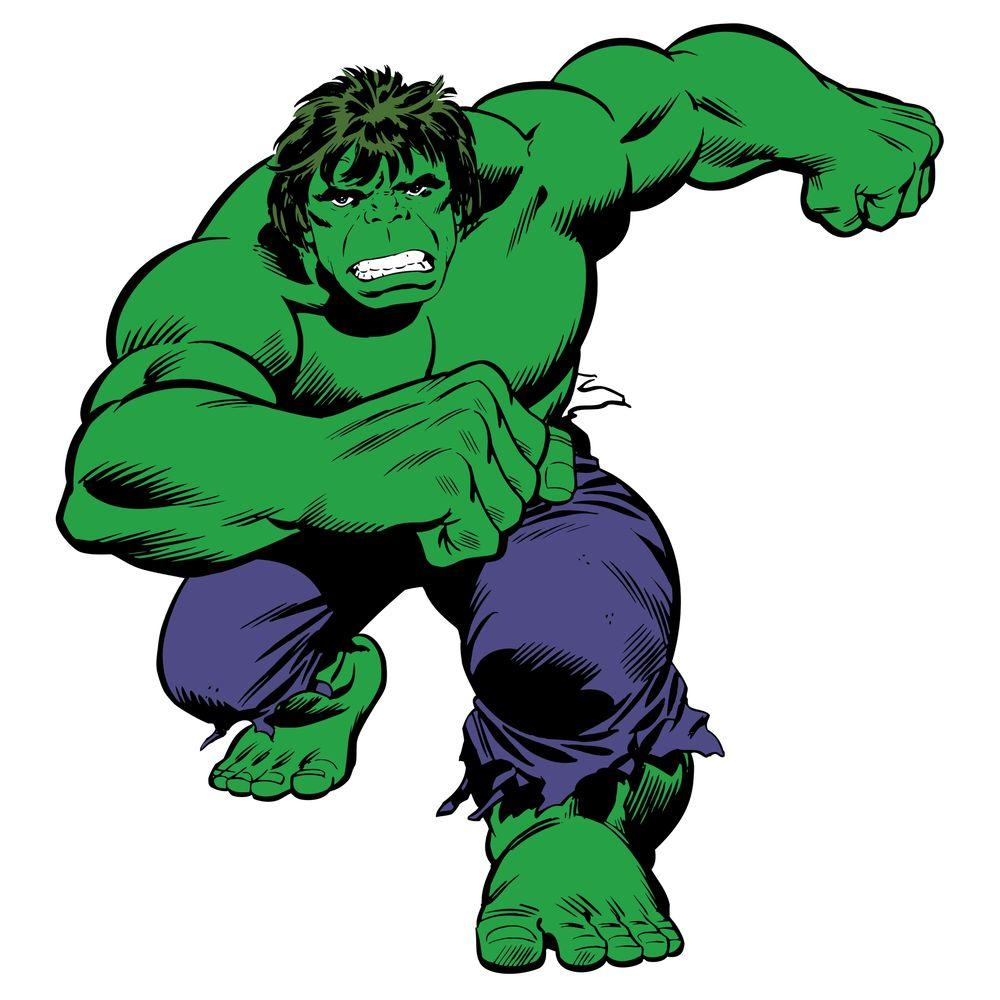 null 5 in. x 19 in. Marvel Classic Hulk Peel and Stick Giant Wall Decals