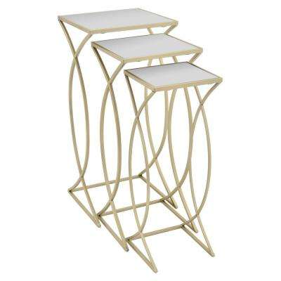 Metal Plant Stand Set of 3. in Champagne Metal 13in L x 13in W x 28in H