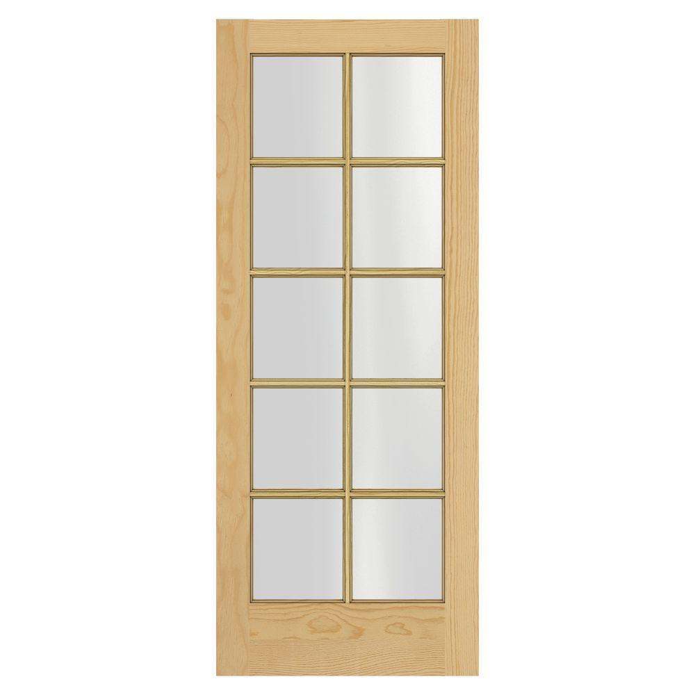 JELD-WEN Woodgrain 10-Lite Unfinished Pine Interior Door Slab-DISCONTINUED