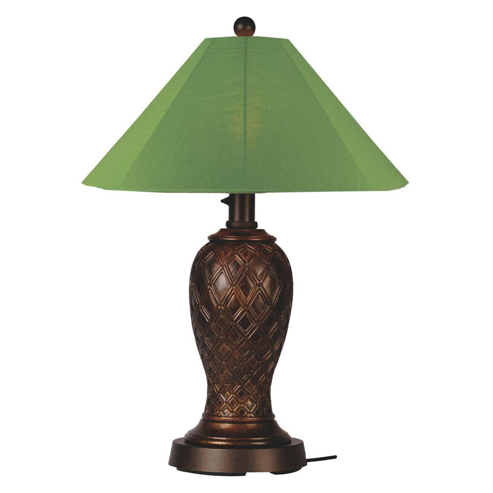 Patio Living Concepts Monterey 34 in. Bronze Outdoor Table Lamp with Palm Shade