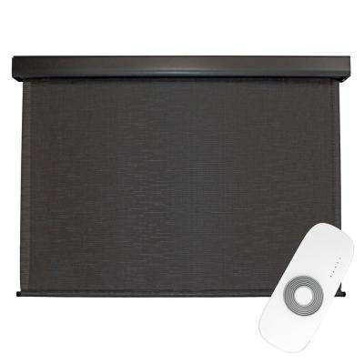 48 in. W x 96 in. L Siesta Premium PVC Fabric Exterior Roller Shade Motor/Remote Operated with Protective Valance