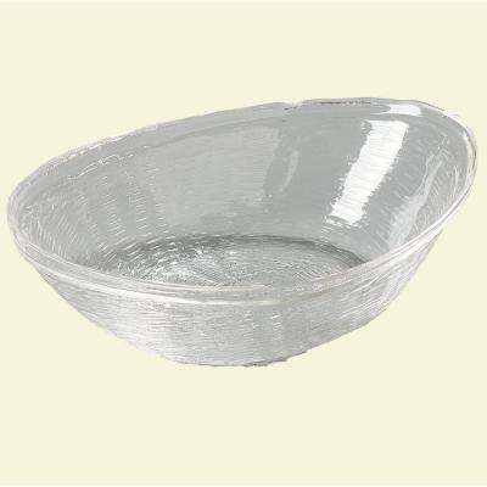 9.44 in. x 6.63 in. x 2.97 in. Polycarbonate Wicker Weave Texture Basket in Clear (Case of 6)