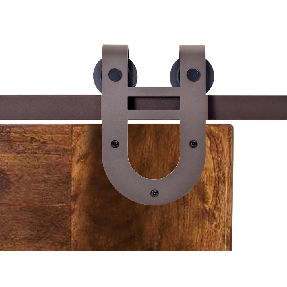 CALHOME 72 in. Antique Bronze Rustic Horseshoe Barn Style Sliding Door Track and Hardware Set