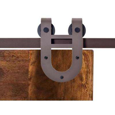 72 In. Antique Bronze Rustic Horseshoe Barn Style Sliding Door Track And  Hardware Set