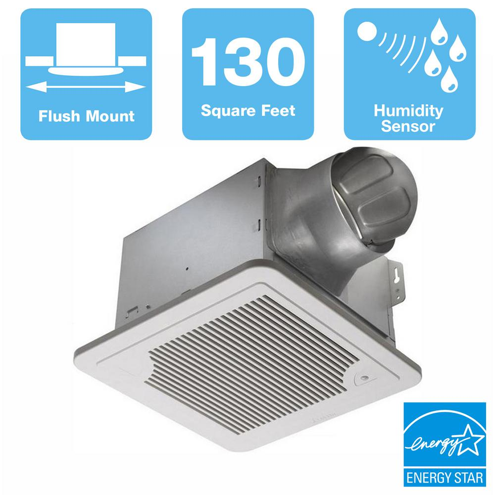 Delta Breez Smart Series 130 CFM Ceiling Bathroom Exhaust Fan with Adjustable Humidity Sensor and Speed Control, ENERGY STAR