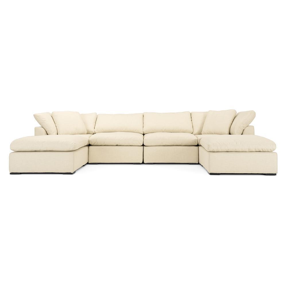 Aria 6-Piece Beige Sofa and Ottoman Set