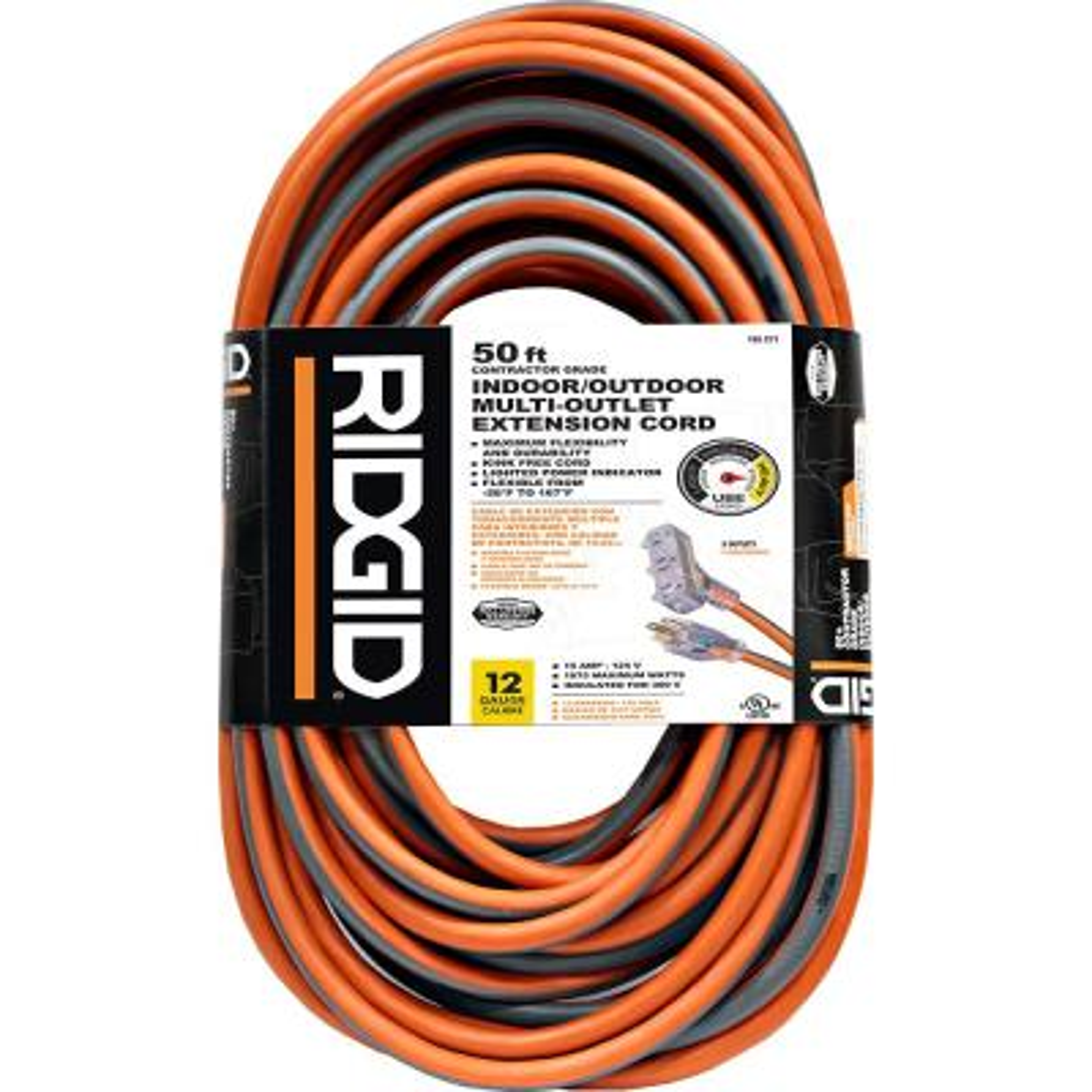 Ridgid 50 ft. 12/3 Tri-Tap Outdoor Extension Cord