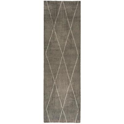 Diamond Maze Grey 2 ft. 7 in. x 7 ft. Runner