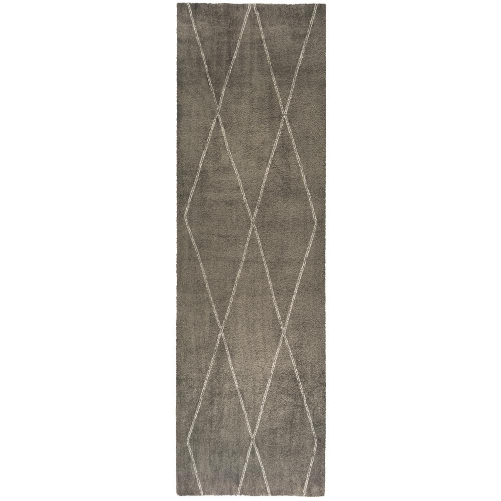 Diamond Maze Grey 2 ft. x 7 ft. Runner Rug
