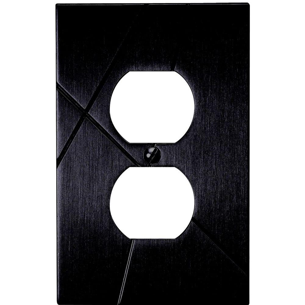 Atlas Homewares Modernist 1 Duplex Metal Outlet Plate - Black