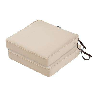 Montlake FadeSafe 19 in. L x 19 in. W x 3 in. Thick Antique Beige Square Outdoor Seat Cushion (2-Pack)