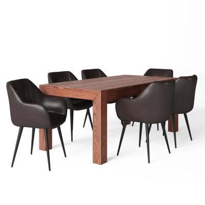 Briar III 7-Piece 72 in. Wide Table in Cognac Faux Leather 6-Upholstered Dining Chairs and Dining Set