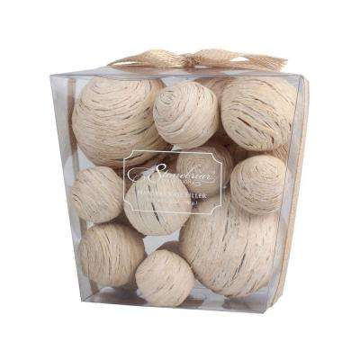 7 in. H x 7 in. D Assortment of Natural Straw Balls (2-Pack)