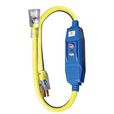 3 ft. 12/3 STW 20-Amp In-Line GFCI Adapter with Lighted End - Blue with Yellow Stripe