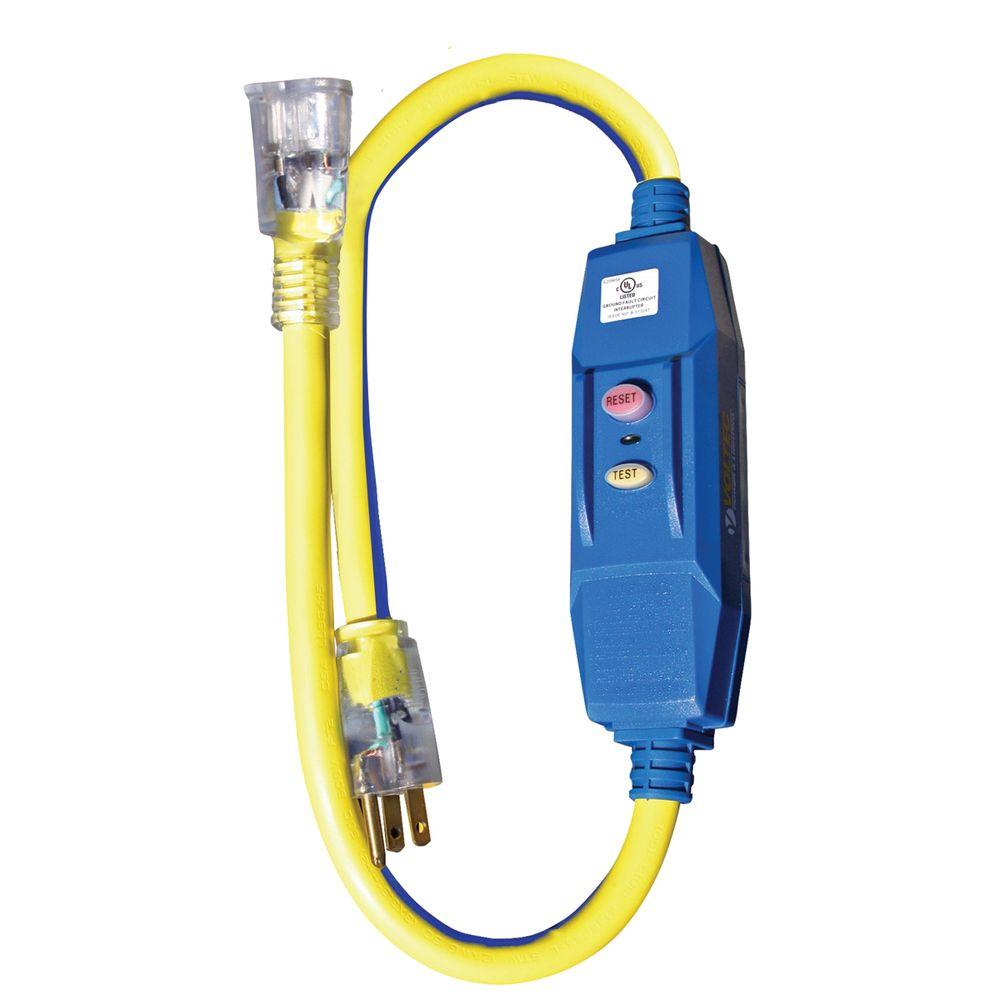 Voltec 3 Ft 12 3 Stw 20 Amp In Line Gfci Adapter With Lighted End Blue With Yellow Stripe 04 00103 The Home Depot