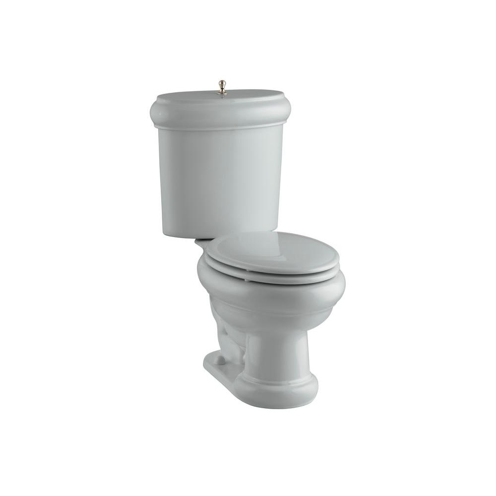 KOHLER Revival 2-piece 1.6 GPF Elongated Toilet with Seat in Vibrant Brushed Bronze, Flush Actuator and Trim in Ice Grey