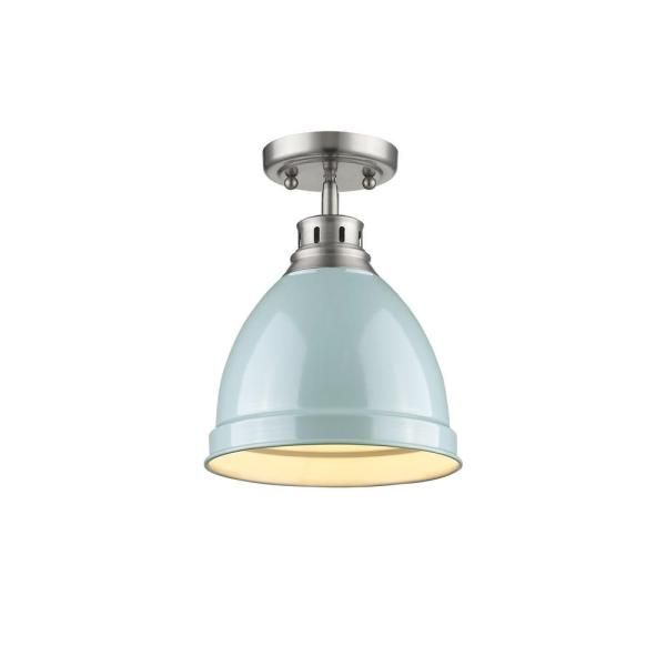 Duncan 1-Light Pewter Flush Mount with Seafoam Shade