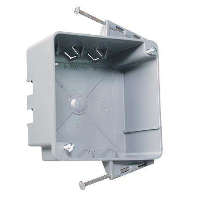 Slater New Work 4 in. Plastic Square Box with Captive Mounting Nails, Threaded Mounting Holes and Auto/Clamps