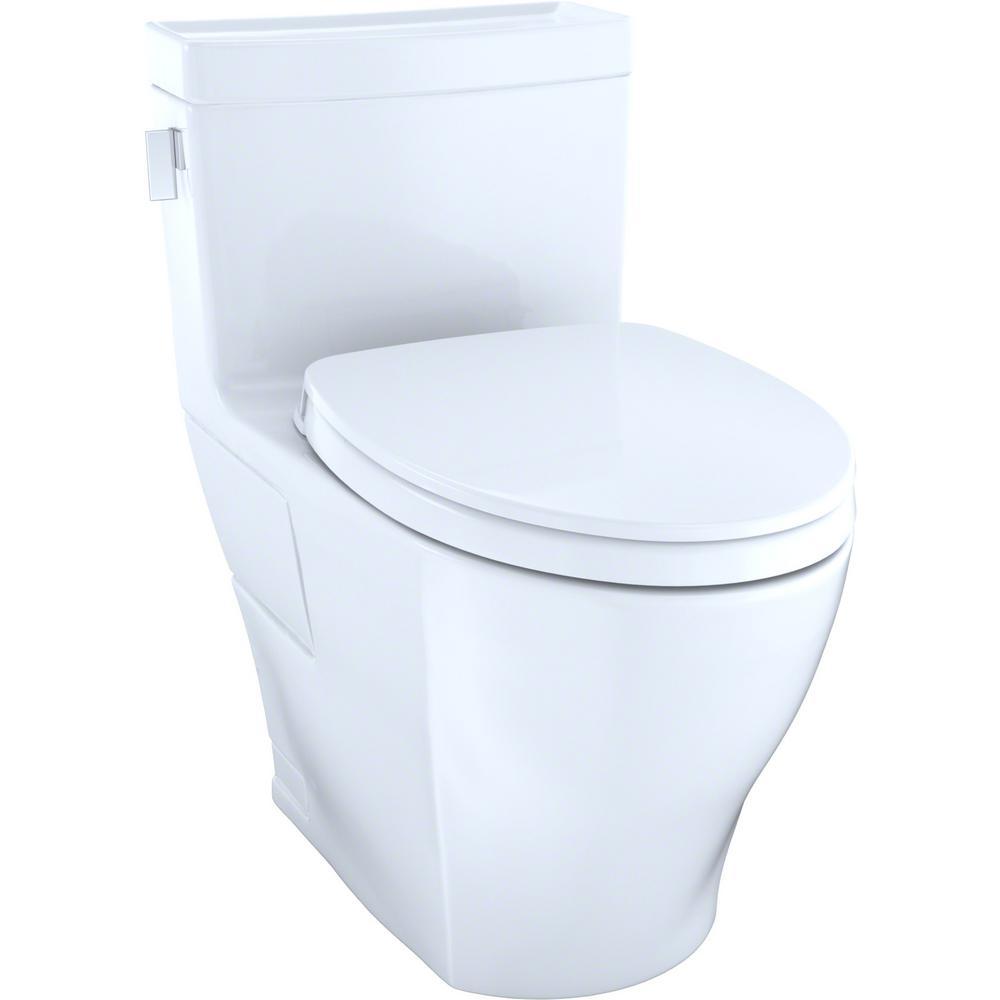 TOTO Legato WASHLET+ 1-piece 1.28 GPF Single Flush Elongated Toilet with CeFiONtect in Cotton White