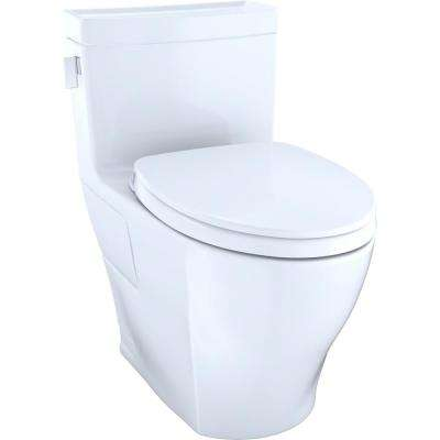 Legato WASHLET+ 1-piece 1.28 GPF Single Flush Elongated Toilet with CeFiONtect in Cotton White