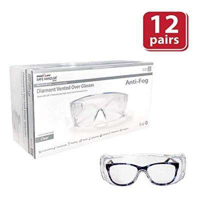 Diamont Vented Over Glasses 12 PAIRS : Anti-Scratch, Anti-Fog, Meets ANSI Z87.1, Impact Resistant Polycarbonate Lens