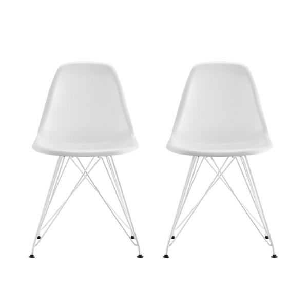 DHP Evelyn White Mid Century Modern Molded Chair With Colored Leg (Set Of 2)