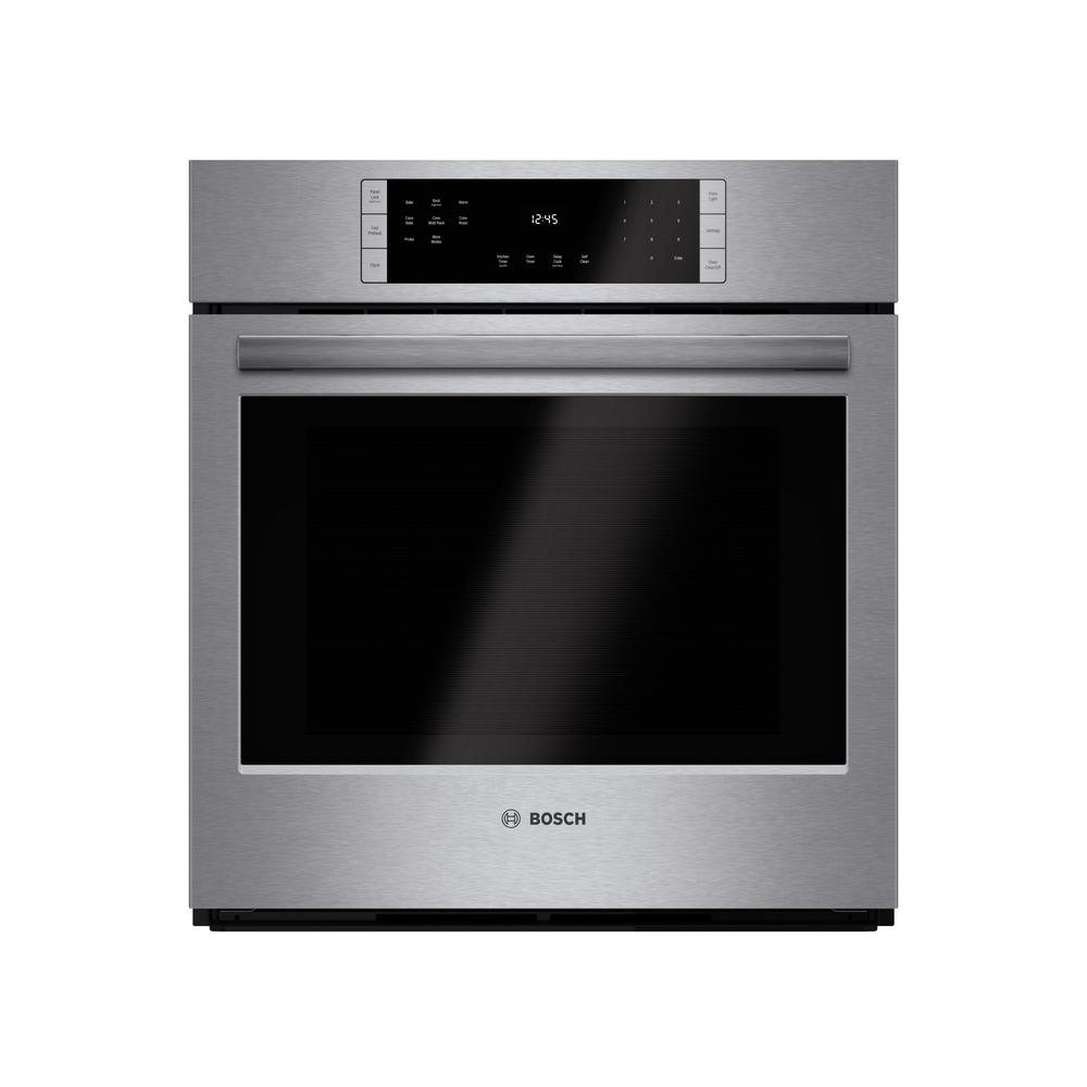 Bosch 800 Series 27 in Single Electric Wall Oven with European Convection Self Cleaning in Stainless Steel with Touch Controls