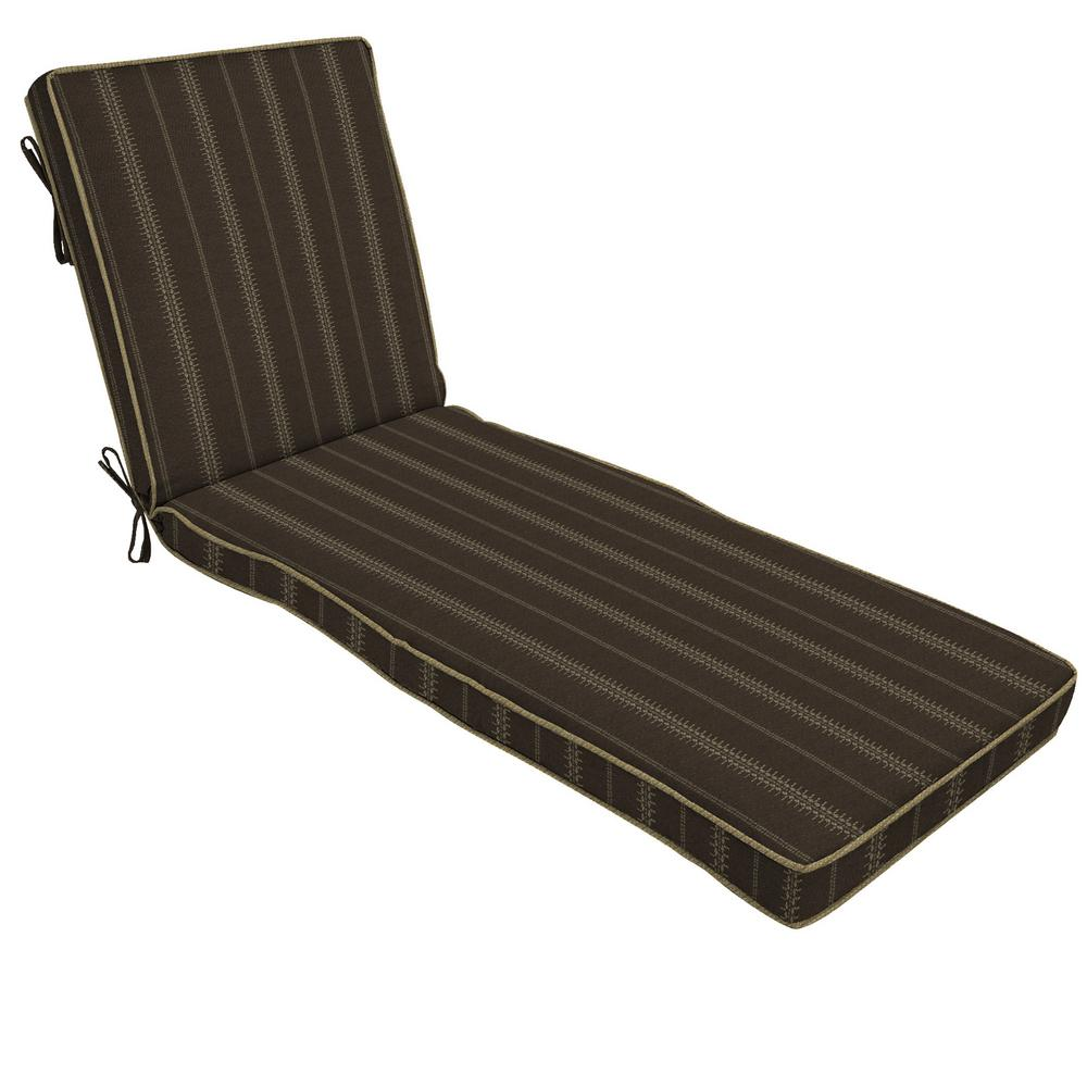 Trevor Stripe Espresso Outdoor Chaise Lounge Cushion