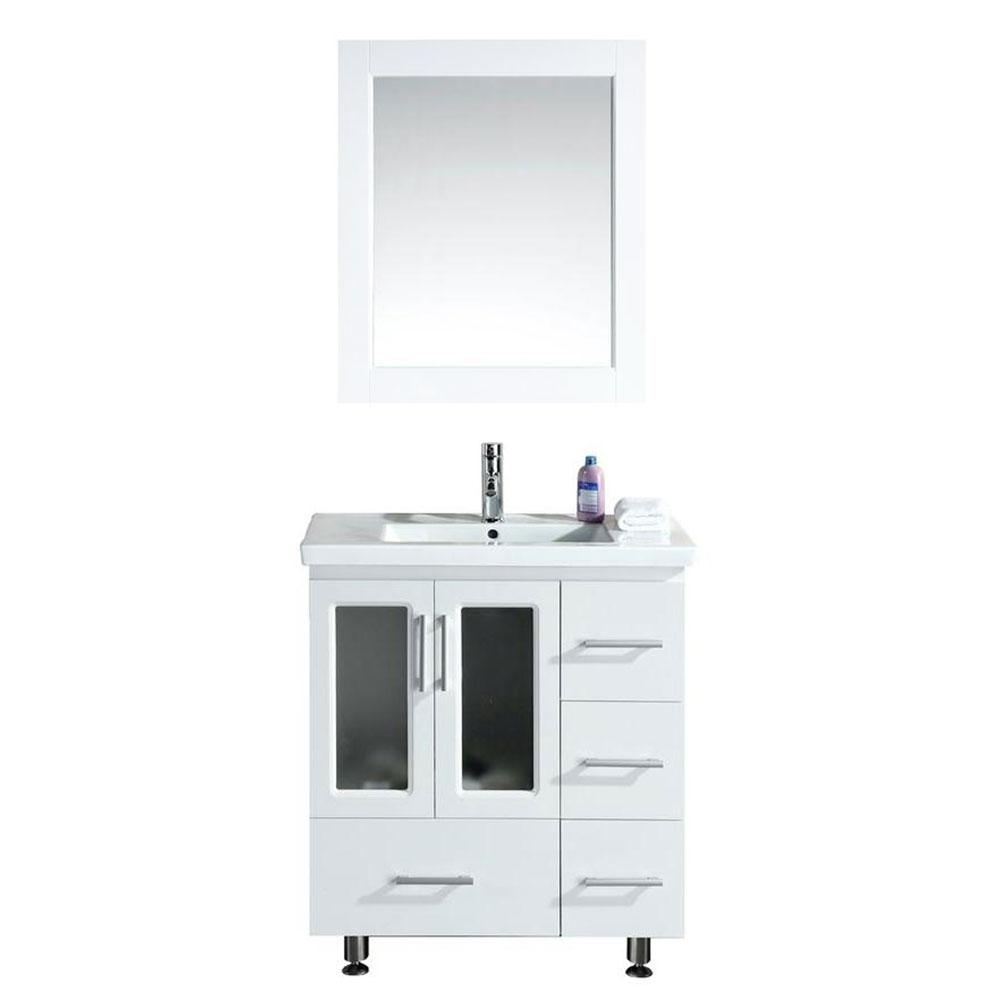 Design Element Stanton 31.5 in. W x 18 in. D W Vanity in White with Porcelain Vanity Top and Mirror in White