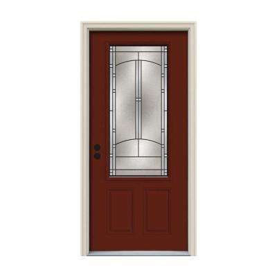 32 in. x 80 in. 3/4 Lite Idlewild Mesa Red Painted Steel Prehung Right-Hand Inswing Front Door w/Brickmould