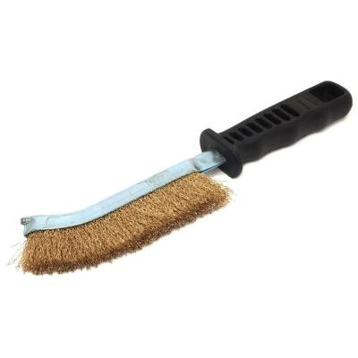 5 in. Plastic Handled Brass Wire Scratch Brush