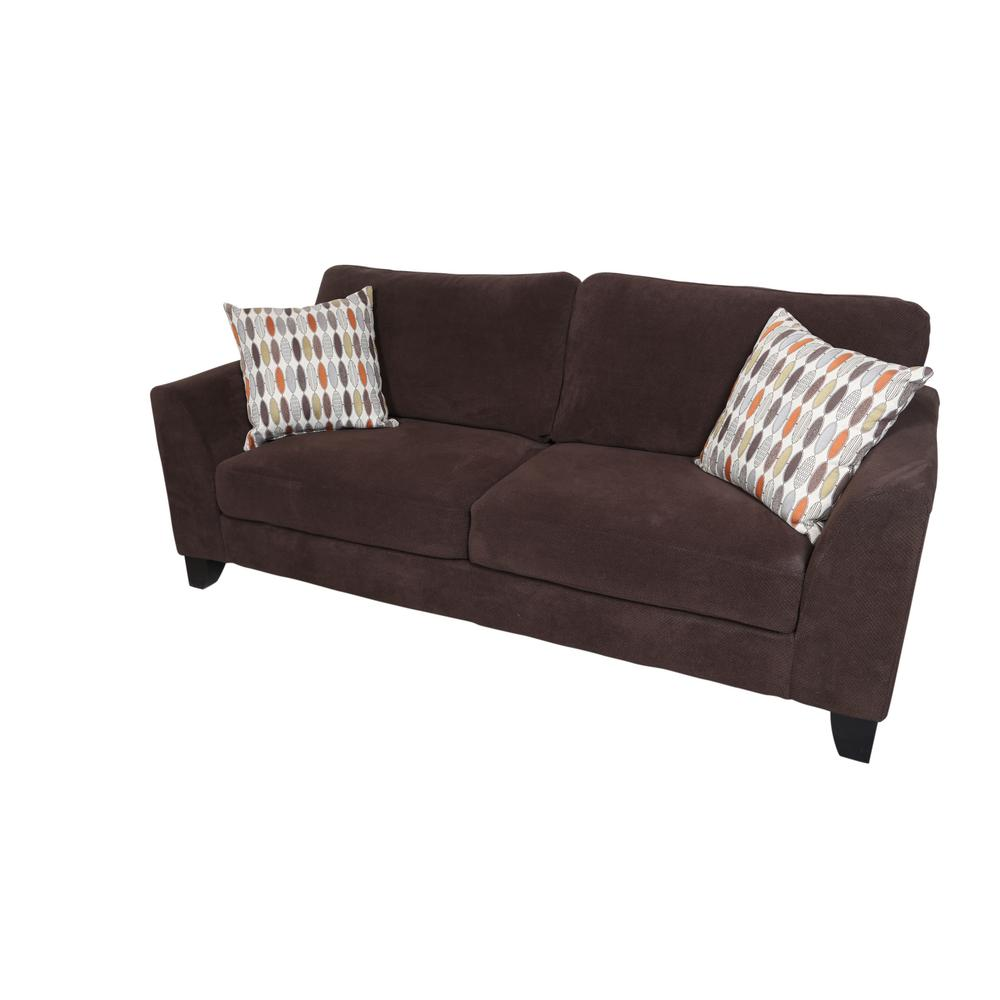Brighton Chocolate Contemporary Textured Microfiber Sofa