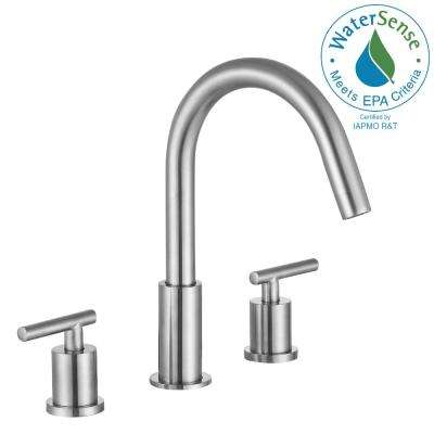Roman 8 in. Widespread 2-Handle Bathroom Faucet in Brushed Nickel