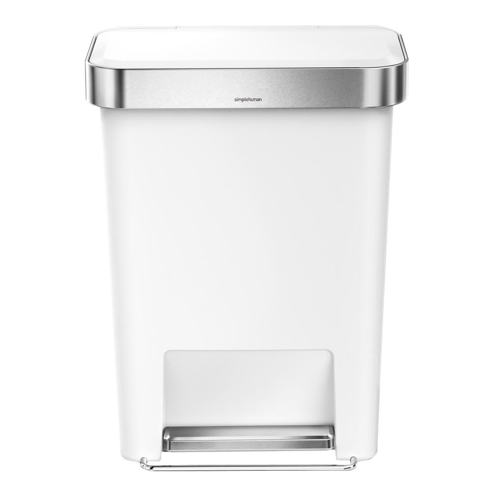 Simplehuman 45 Liter White Plastic Rectangular Liner Rim Step On Trash Can