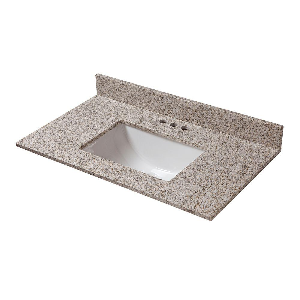 Pegasus 25 In W X 22 In D Granite Vanity Top In Golden Hill With White Single Trough Basin 24992 The Home Depot