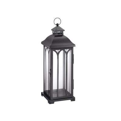 22 in. Metal Lantern in Black