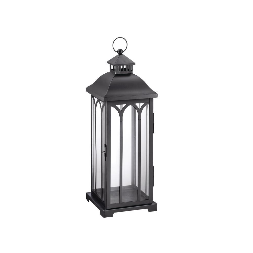 22 in. Metal Lantern in Black