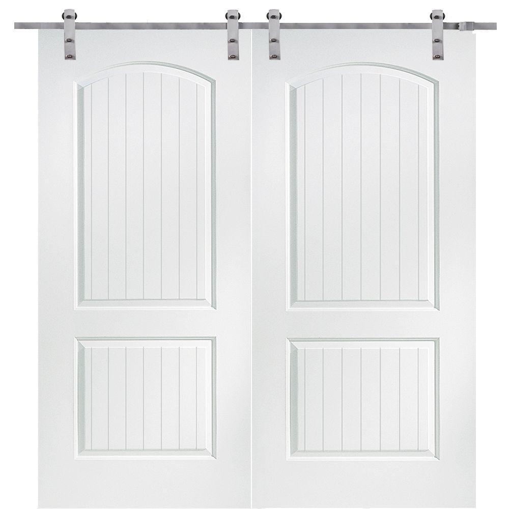 MMI Door 60 in. x 80 in. Primed Composite Santa Fe Smooth Surface Solid Core Double Door with Barn Door Hardware Kit