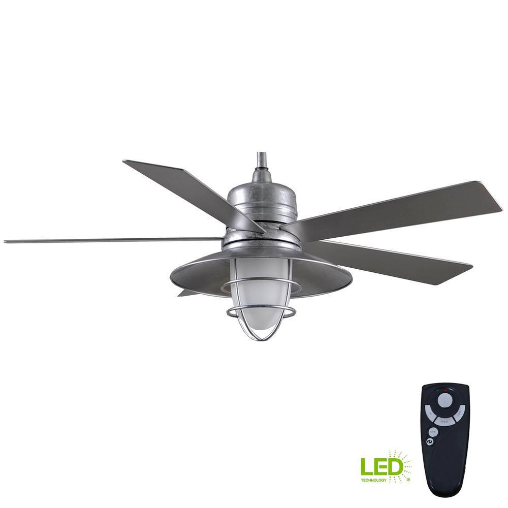 Grayton 54 In Led Indoor Outdoor Galvanized Ceiling Fan With Light Kit And Remote Control