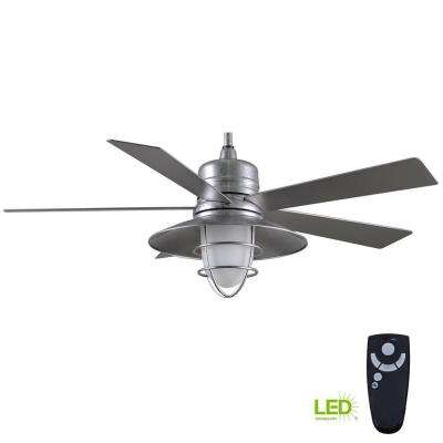 Grayton 54 in. LED Indoor/Outdoor Galvanized Ceiling Fan with Light Kit and Remote Control